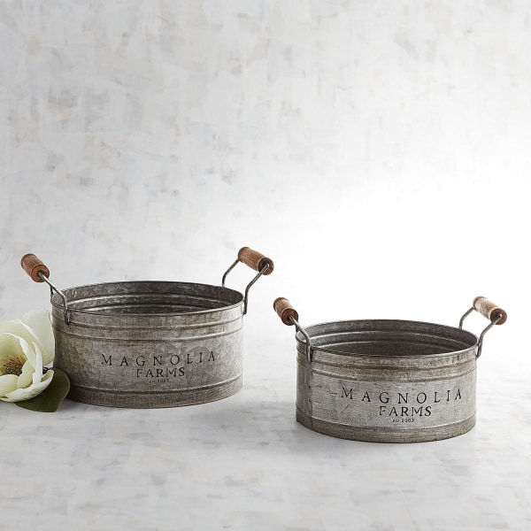 Magnolia Home Galvanized Gathering Pans Set Pier 1