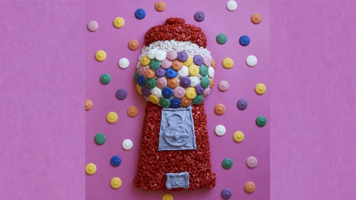 Rice Krispie treat gumball machine