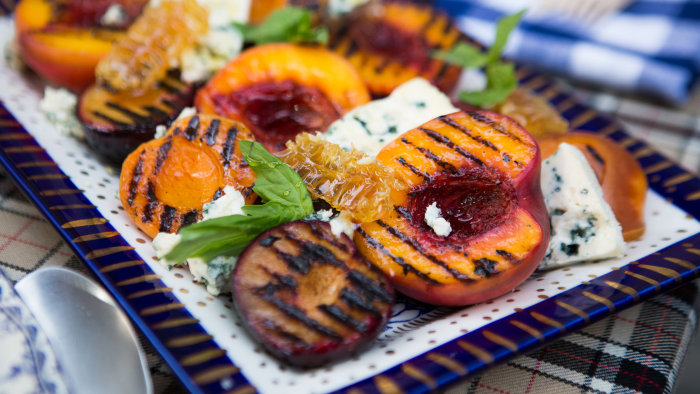 Grilled Stone Fruit with Blue Cheese and Honey