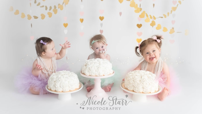 3 girls with Down syndrome share 1st birthday cake smash TODAYcom
