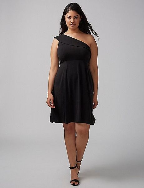 Lane Bryant black one shoulder dress