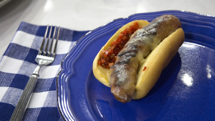 NY Yankee Red Hot Sausages with Cherry Peppers and Provolone