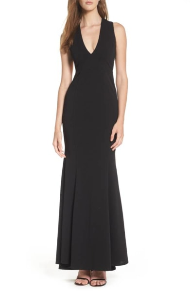Black plunging neckline dress Nordstrom