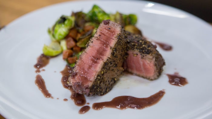 Curtis Stone's Pepper-Crusted Filet Mignon with Red Wine Sauce