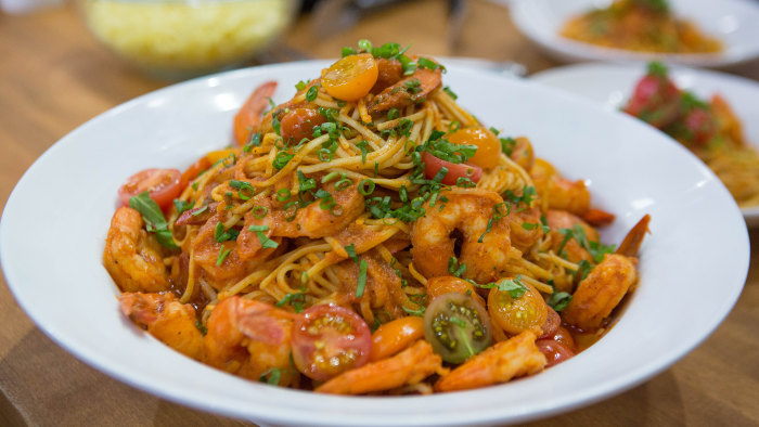 Scottos' Tagliolini with Shrimp Fra Diavolo