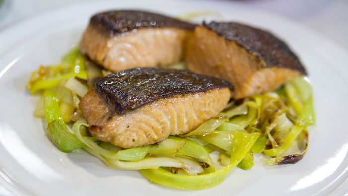 Ginger Salmon and Leeks