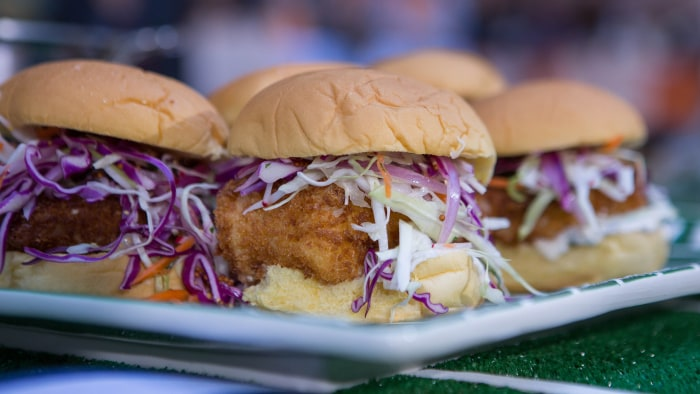 Gail Simmons' Crispy Cod Sandwiches with Pickle Sauce & Slaw