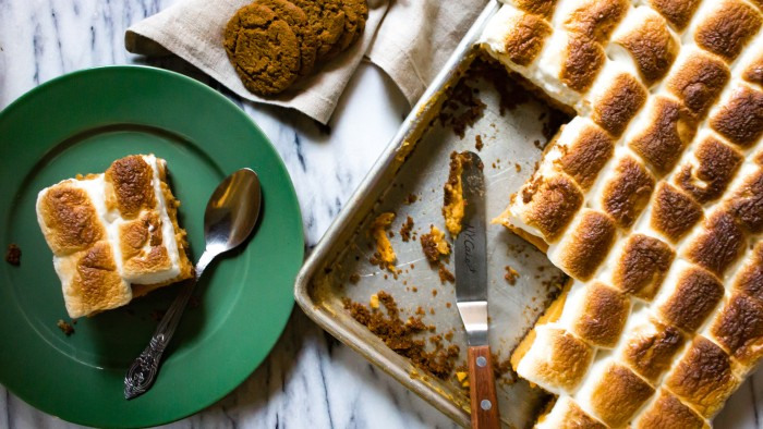Sweet Potato Pie with Gingerbread Crust and Marshmallows