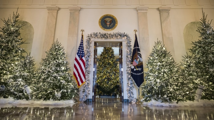 Image result for First lady Melania Trump unveils sneak peek at White House holiday decorations
