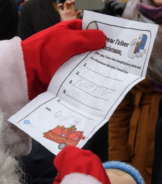 Prince William delivers George's Christmas list to Santa