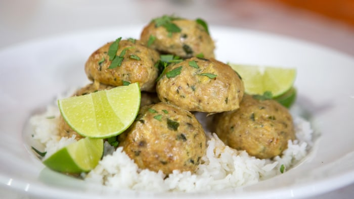 Katie Lee's Italian Chicken Meatballs, Mexican Chicken Meatballs, Red Curry Chicken Meatballs