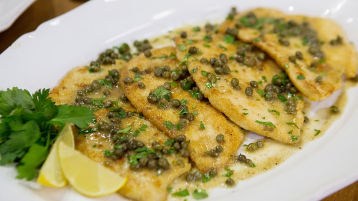 Laura Vitale's Parmesan Crusted Chicken Piccata + Garlic Broccolini