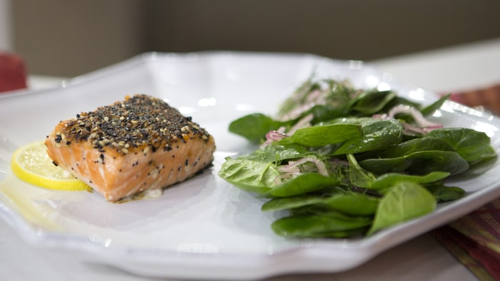 "Ashton Keefe's ""Everythng"" Salmon with Sherry Spinach Salad"