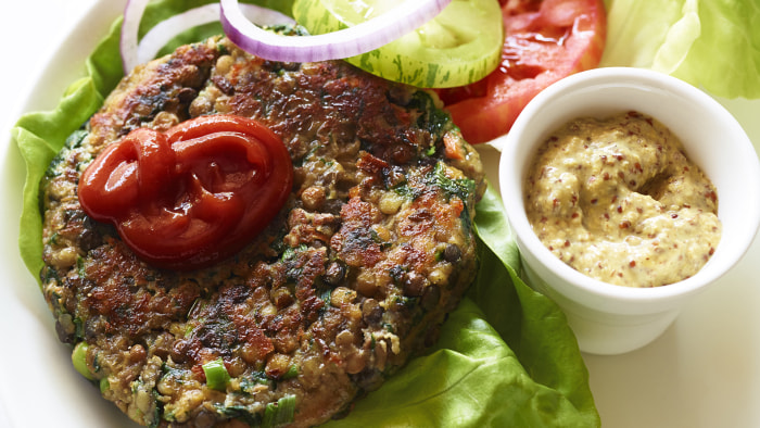 Overhead of lentil and black bean veggie burger