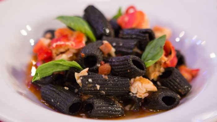 Scott Conant's Black Rigatoni Pasta with King Crab