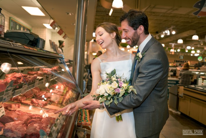 couple weds at whole foods grocery store in north carolina. Black Bedroom Furniture Sets. Home Design Ideas