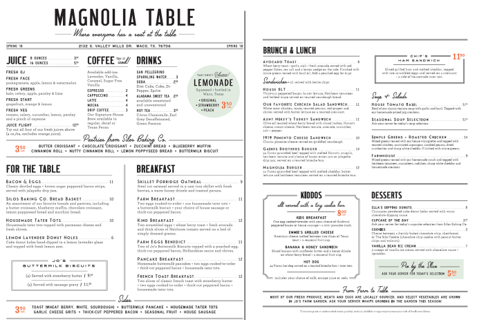 Chip and joanna gaines 39 magnolia table restaurant now open for Table menu restaurant