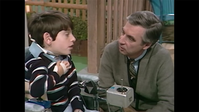 Image result for mr rogers talking to handicapped kid