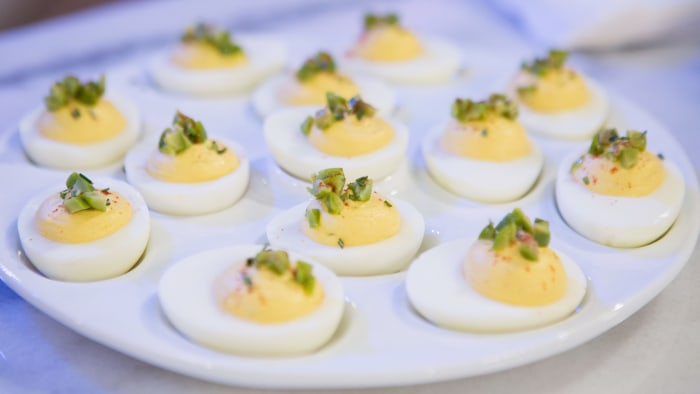 Seamus Mullen makes deviled eggs