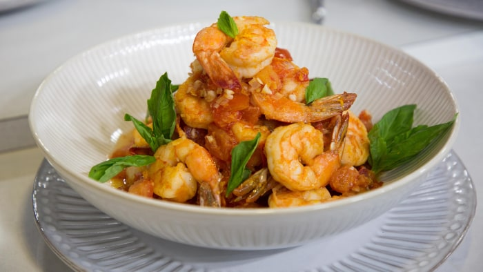 Michael Gulotta's Gulf Shrimp with Summer Tomatoes,