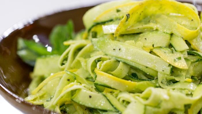 Ryan Scott's healthy no-cook squash tagliatelle with creamy raw pesto