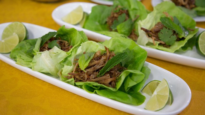 Flynn McGarry's Lettuce Wraps with Pork Thread & Fresh Herbs
