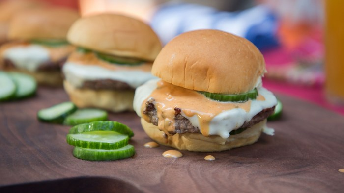 Al Roker's Pork and Turkey Burger with Asian Slaw + Matt Abdoo's Pig Beach Burger with Quick Pickles