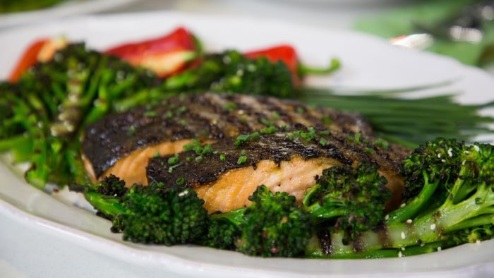 Judy Joo's Grilled Miso Glazed Salmon with Broccolini Salad