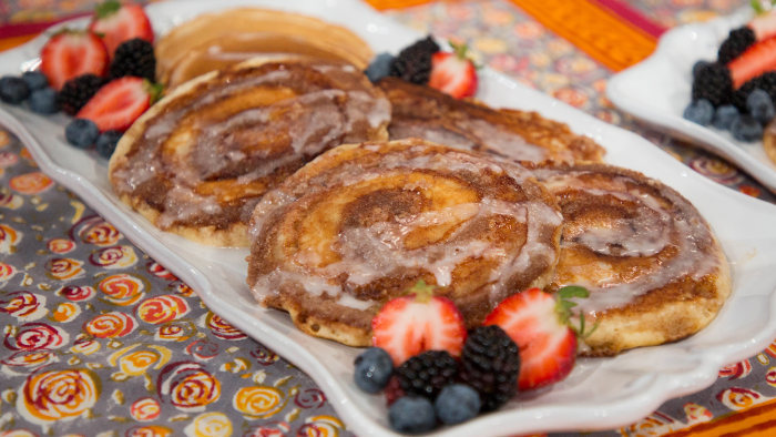 Chloe Coscarelli's Cinnamon Roll Pancakes + Banana Doughnuts with Maple Glaze