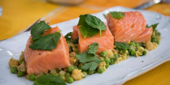 Ed Brown's Poached Salmon & Chickpeas + Watermelon-Tomato Salad