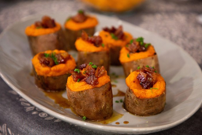 twice baked sweet potatoes with candied bacon today com