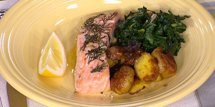 Camila Alves' Salmon with Dill, Sauteed Potatoes and Spicy Kale