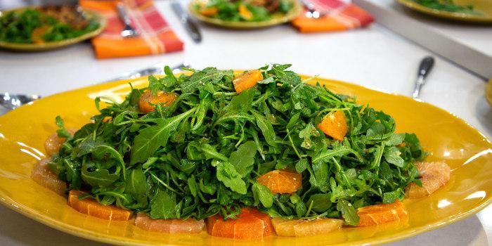Alon Shaya's Roasted Harissa Chicken, Arugula with Citrus, Olives & Za'atar, Tahini Chicken Salad