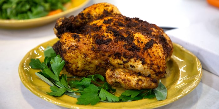 Alon Shaya's Roasted Harissa Chicken, Arugula with Citrus, Olives & Za'atar, Tahini Chicken Salad
