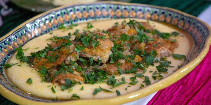 Padma Lakshmi's Crispy Chicken & Polenta