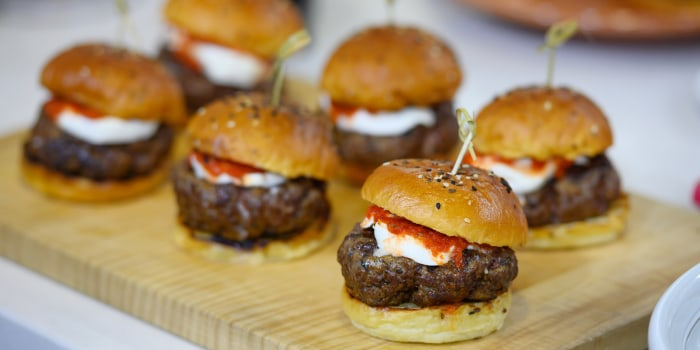 Ryan Hardy's Burger + Roasted Squash and Burrata Salad