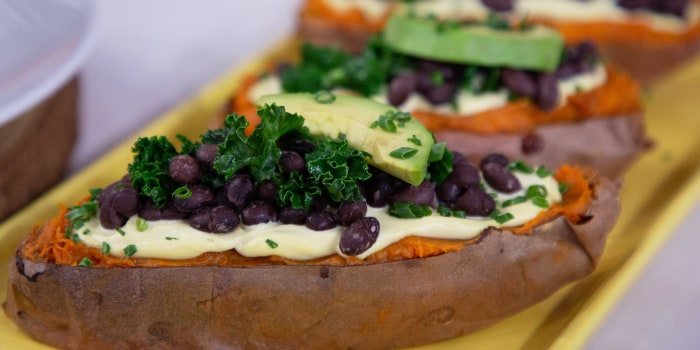 "Marco Borges' Mushroom ""Chorizo"" Tacos + Rainbow Quinoa Bowl + Loaded Sweet Potato"