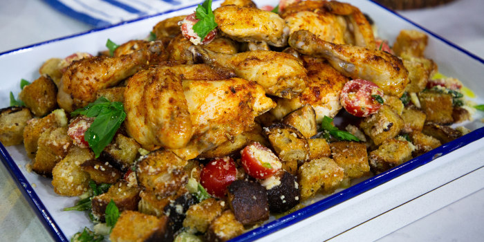 Giada de Laurentiis easy sheet pan chicken with bread salad and one skillet lasagna.