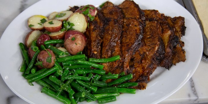 Harissa-Braised Brisket with Green Beans and Red Potatoes
