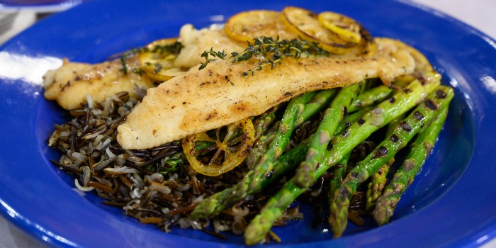 Filet of Sole with Wild Rice and Asparagus