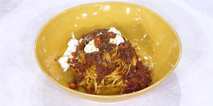 Chitarra Pasta with Salumi Sauce