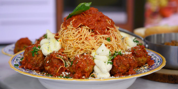 Anthony Scotto's Spaghetti with Meatballs + Meatballs over Creamy Polenta + Meatball Sandwich