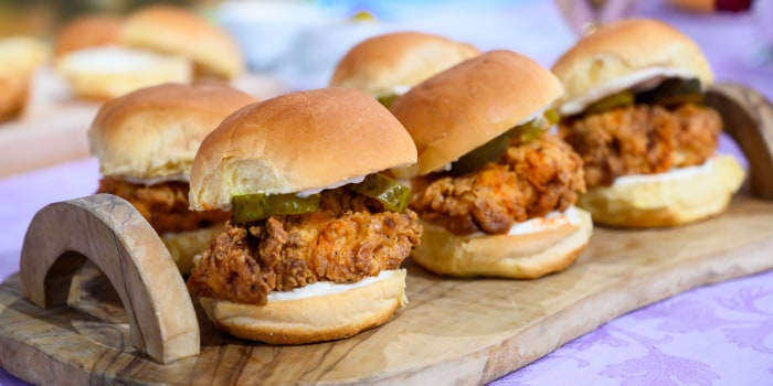 Siri Daly's Fried Chicken Sliders + Mini Cheese Grit Cups + Grapefruit Rosemary Julep