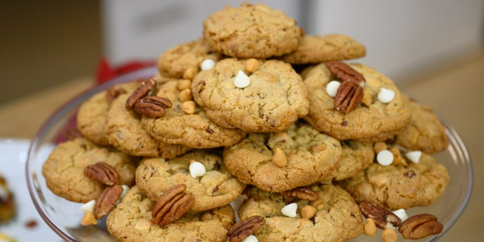 Butterscotch, White Chocolate and Pecan Cookies