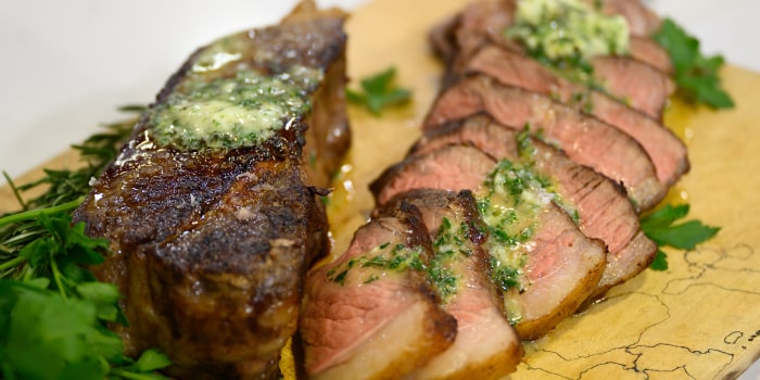 Matt Eads' NY Strip Steak with Compound Butter + Cilantro-Lime Grilled Sweet Potatoes + Baked Apple Crumble