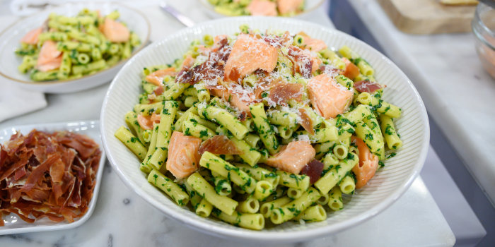 GEOFFREY ZAKARIAN: Roasted Salmon with Sweet Potatoes & Broccolini + Ziti with Prosciutto, Salmon and Pesto + Salmon Cubano Sandwiches