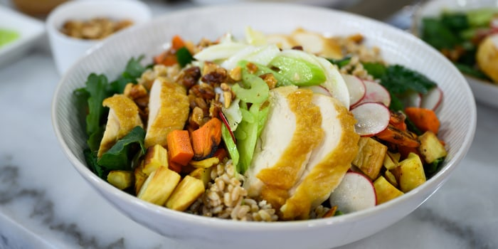 Curtis Stone Simple Roast Chicken + Farro Salad + White Bean Cassoulet
