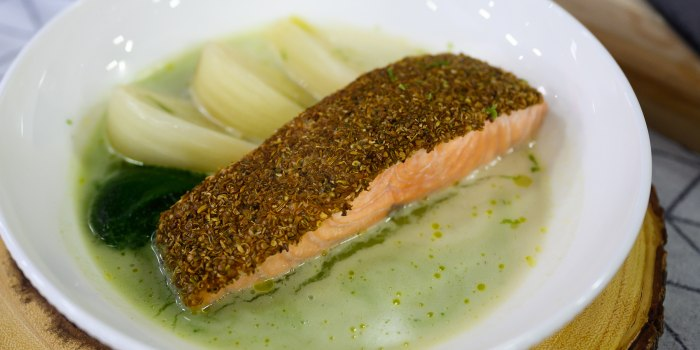 Noah Poses Roasted Salmon with Green Curry
