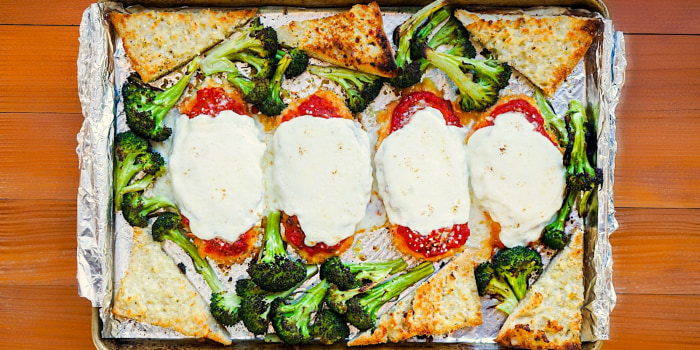 Sheet-Pan Chicken Parm with Roasted Garlic Bread and Broccoli