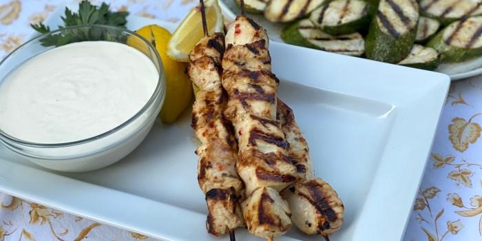 Italian Marinated Chicken Kebabs with Lemon-Garlic Yogurt